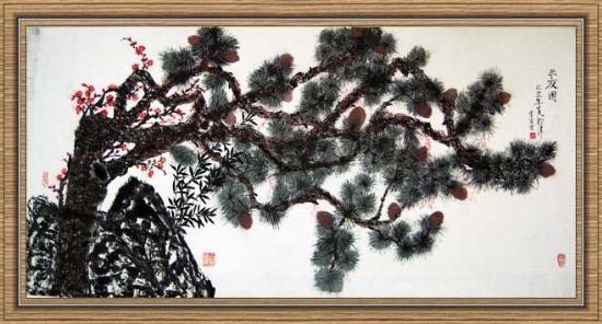 贾少君绘画作品-34 三友图 梅花满树